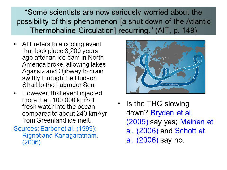 Some scientists are now seriously worried about the possibility of this phenomenon [a shut down of the Atlantic Thermohaline Circulation] recurring. (AIT, p. 149)